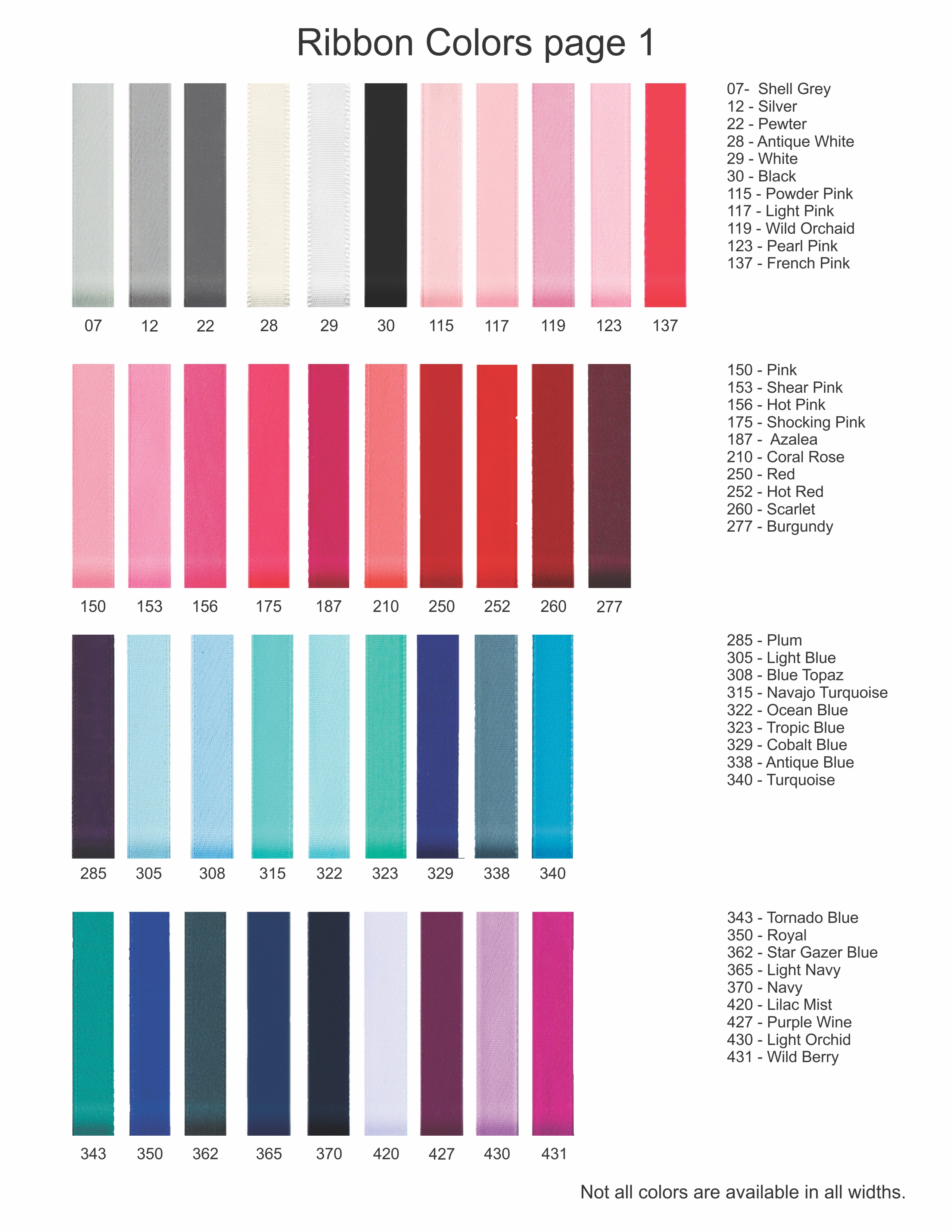 Color Sheet 1 For Ribbons